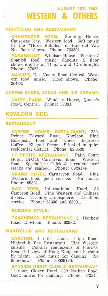 Tkachenko Restaurant listing, 1962