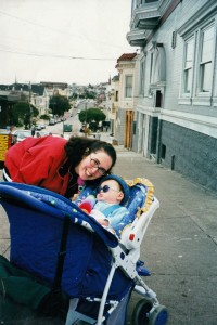 On the streets of San Francisco with Jake, 1999
