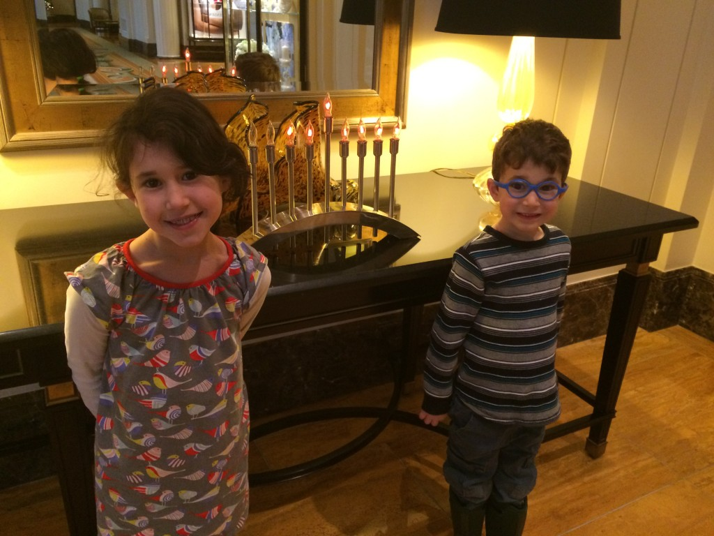 Kids and menorah at Pen