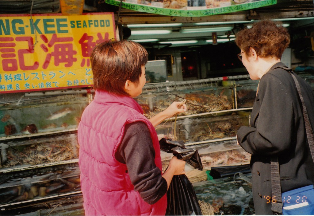 Mom picking out fish in Sai Kung