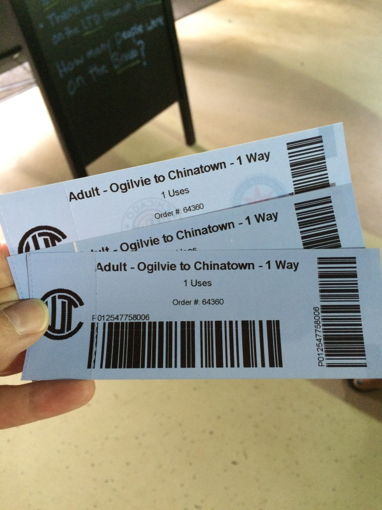 Water taxi tickets